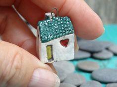 Miniature house pendant/ornament with hearts, yellow door - OOAK porcelain mini home- handmade