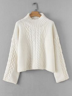 To find out about the Drop Shoulder Cable Knit Jumper at SHEIN, part of our latest Sweaters ready to shop online today! Knitwear Fashion, Knit Fashion, Baby Cardigan, Sweater And Shorts, Diy Finger Knitting, Cable Knit Jumper, Cute Dresses, Knitting Patterns, Sweatshirts