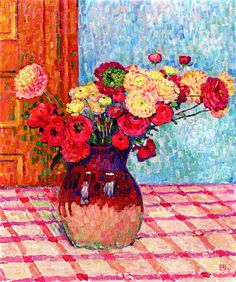 The Athenaeum - RYSSELBERGHE, Theo van Belgian Pointillist (1862-1926)_Vase of Flowers (also known as Buttercups) - 1905
