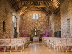Tythe Barn (Priston Mill) Ceremony | Bride in Suzanne Neville Gown |Stephanie Browne Statement Necklace | Bridesmaids In Coast | Images by John Barwood Photography | http://www.rockmywedding.co.uk/lisa-ross/