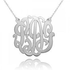 "Designer Personalized Monogram Initials Pendant 2"" Sterling Silver $99"
