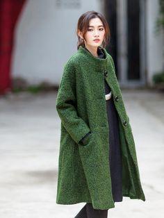 Loose Single Breasted Wool Coat - Buykud