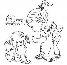 Hand Embroidery PATTERN 823 Children for Kitchen Towels 1960s