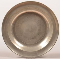 """Sold $450 18th Century Philadelphia, Pennsylvania Pewter Charger with """"Love"""", Love Birds and Spurious """"London"""" Mark. 13"""" diameter. Condition: Very good with expected use wear."""