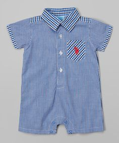 Love this Blue & Black Gingham Button Romper - Infant by U.S. Polo Assn. on #zulily! #zulilyfinds