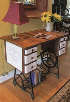 Rustic Industrial Desk Accent Table with French Script. Up cycled an old antique Franklin 1910 cast Iron Sewing machine. Contact me through Pinterest Message Board if interested,