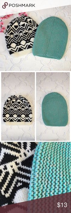 "AEO Set Of 2 beanies Teal & tribal print. Both slouchy beanies.  Gently used condition.  Tribal: about 10"" long  Teal: about 10 3/4"" long American Eagle Outfitters Accessories Hats"