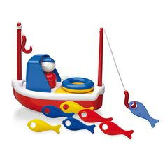 Fishing Boat by Ambi Toys is a floating toy boat equipped with 2 fishing rods to catch 6 colorful fish. Bath Toys For Toddlers, Toddler Toys, Kids Toys, Imagination Toys, Baby Bath Toys, Toy Store, Fishing Boats, Educational Toys, Shower Gifts