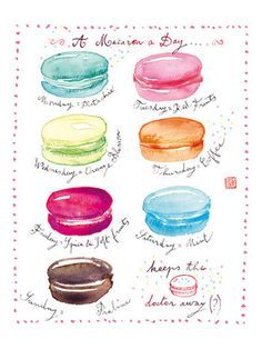 A macaron a day 8x10 print, Macaron poster, watercolor painting, Macaroon art. $25,00, via Etsy.