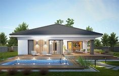 Modern Bungalow House Design, Modern Small House Design, Small House Exteriors, Bungalow House Plans, Home Design, Round House Plans, Little House Plans, Modern House Floor Plans, Contemporary House Plans