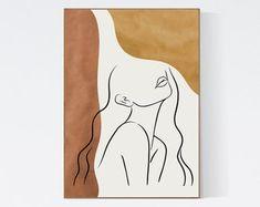 Bohemian Modern Mid Century Minimalist Printable di WeCreatePrints Easy Canvas Art, Simple Canvas Paintings, Small Canvas Art, Mini Canvas Art, Diy Canvas, Outline Art, Abstract Line Art, Painting Abstract, Minimalist Art