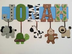 7 LETTER NAME  Custom Jungle Zoo Safari Themed by AlbonsBoutique, $64.00 Can be personalized to match your child's bedding. :) Any theme