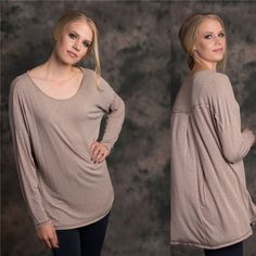 Oversized Comfy Shirt Wear and go Ladies Heather Knit Long Sleeve Longline Back Detail Tee.  This top is perfect layered or alone.   Wear with leggings or jeans to comeplete a comfortable yet casual look.   Content: 97% Rayon,   3%  Spandex Lewboutiquetwo Tops