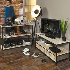 Zwart metalen en massief houten industrieel tv-meubel B 117 cm