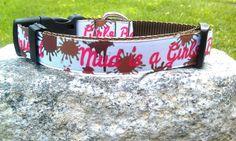Mud Is A Girls Best Friend 1 Inch Width Dog Collar by WillyWoofs, $16.00