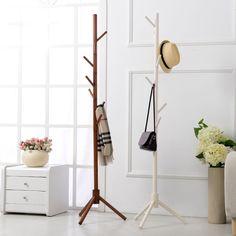 8 Hook Modern Colorful Coat Hanger stand for hall furniture Simple Wooden Floor Clothes Rack Bedroom Living Room  #Affiliate