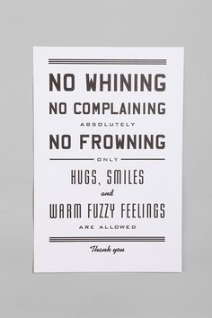 Urban Outfitters - Hammerpress No Whining Print for the bedrooms