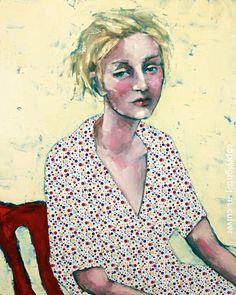 Modern Portrait Woman with Polka Dots -SALE- Ready to Ship. $15.00, via Etsy.