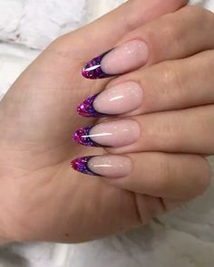 Nails gel, we adopt or not? - My Nails Purple Acrylic Nails, French Acrylic Nails, Gold Nail Art, French Tip Nails, Best Acrylic Nails, Purple Nails, Gold Nails, Glitter Nails, Almond Acrylic Nails
