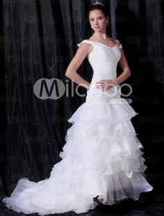 Ivory Off-The-Shoulder V-Neck A-line Satin Organza Bridal Dress
