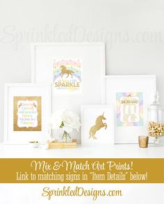 Your Unicorn Name Party Sign, Your Unicorn Name Party Game, What's Your Unicorn Name? Printable Rainbow Unicorn Birthday Party Decorations - SprinkledDesigns.com