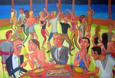 Cena con amigos 2014, acrilico sobre tela, 95 x 140 cm, 2014