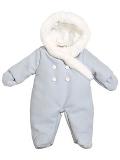 LA STUPENDERIA - PADDED BABY BUNTING WITH FAUX FUR TRIM - LUISAVIAROMA - LUXURY SHOPPING WORLDWIDE SHIPPING - FLORENCE