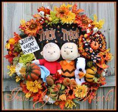 Great Pumpkin Wreath, Large Charlie Brown Wreath, Peanuts Halloween Wreath, Welcome Great Pumpkin Sign, Linus, Snoopy, Charlie by IrishGirlsWreaths on Etsy