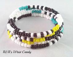 Color Pop Beaded Coil Bracelet by RandRsWristCandy on Etsy