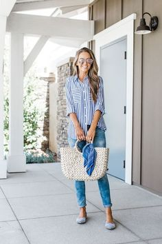 perfect casual summer outfit - denim, striped shirt and straw bag Blue Striped Shirt Outfit, Blue Shirt Outfits, Outfits With Striped Shirts, Blue And White Striped Shirt, Casual Outfits, Blue Stripes, Blue Jeans Outfit Summer, Button Down Shirt Outfit Casual, Striped Flats