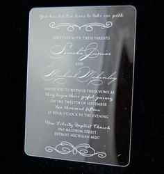 Engraved Acrylic Invitations by UniqueCustomProducts on Etsy