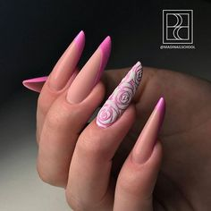 Russian shaping with matte pink french tips and white rose design! Beautiful nails done by @murievamadina Dedicated to promoting quality and Inspirational Nails from International Nail Artists Find us on Facebook- Ugly Duckling Nails #uglyducklingnails #nail #nails #instanails #nailsofinstagram #nailartwow #nail