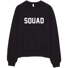 Squad Typography Sweater (£30) ❤ liked on Polyvore featuring tops, sweaters, crewneck sweaters, crew neck sweaters, crew neck top, fleece tops and fleece sweater