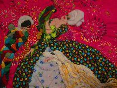 Arte tessile - Manufatto tecnica mista patchwork ricamo - Teatrino Commedia dell'Arte Arlecchino Colombina e fuochi di artificio
