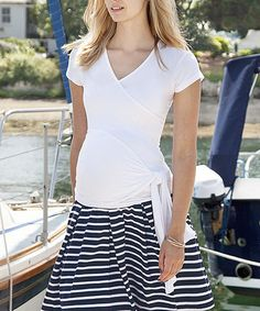 Love this White Side-Tie Maternity Wrap Top by JoJo Maman Bébé on #zulily! #zulilyfinds