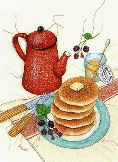 This page lists the works of Miyuki Sakai, an active Tokyo Illustrators Society (TIS) member. Textile Design, Textile Art, Embroidery Art, Machine Embroidery, Chibi Kawaii, Motifs Textiles, Thread Painting, Food Drawing, Kitchen Art