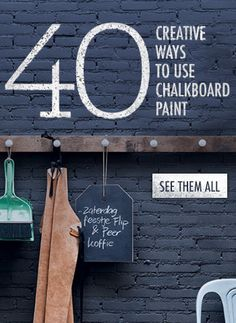 """Chalk It Up: 40 Creative Ways to Use Chalkboard Paint I love some of these! You have to search for """"chalkboard paint"""" on the site to find the link though"""