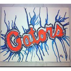 Crayon melt outline with crayon shavings inside- go gators
