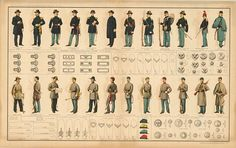 Uniforms of the Conflict - Union and Confederate Soldiers, 1891, by U. S. War Dept., Washington, D.C. #veterans #military #uniforms #history #ushistory