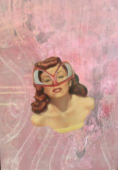 'Super Woman' Varnished oil, acrylic and paper collage on 50 x 70 cm canvas