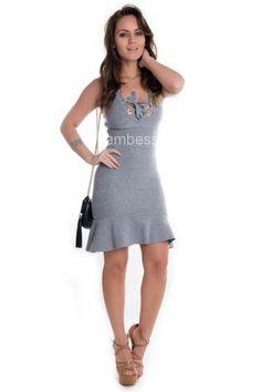 Vestido de Bandagem com Ilhós VE1221 - Cinza - Kam Bess