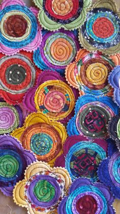 Items similar to 5 Handmade Fabric Batik Swirl Quilted Stacked Layer Flowers Appliques Label Tag Bright on Etsy Felt Flowers, Diy Flowers, Fabric Flowers, Paper Flowers, Handmade Flowers, Fabric Rosette, Fabric Flower Brooch, Fabric Art, Scrap Fabric Projects