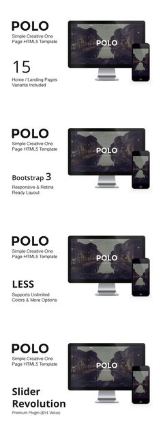 POLO - One Page Parallax Template. HTML/CSS Themes. $18.00