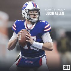QB Josh Allen 2018 Buffalo Bills Football, American Football, Football Team, Football Helmets, Josh Allen Buffalo Bills, Superbowl Champions, Notre Dame Football, Professional Football, National Football League