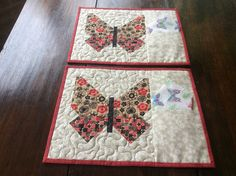Butterfly Quilted Placemats. Home Decor.2 Placemats.Handmade.Patchwork Placemats.Gift.Table Topper. by PetrinaRigbyQuilting on Etsy