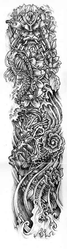 Black And White Tattoo Sleeve Designs Japanese tattoo sleeve by . Asian Tattoos, Trendy Tattoos, New Tattoos, Small Tattoos, Tattoos For Guys, Evil Tattoos, Hand Tattoos, Letter Tattoos, Chinese Tattoos