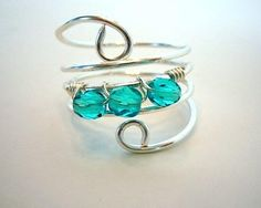 Wire Wrapped Ring Silver With Turquoise Glass Beads