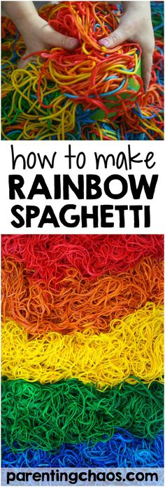 This is by far the best method I have found on How to Dye Rainbow Spaghetti for sensory play! via @pixilatedskies