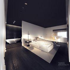- house interior design on Behance Luxury Bedroom Design, Home Room Design, Home Interior Design, House Design, Home Bedroom, Modern Bedroom, Tamizo Architects, Modern Apartment Design, Interior Design Programs