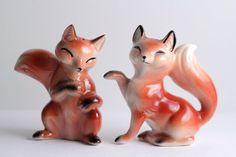 Vintage Fox Salt And Pepper Shakers Forest Animal Woodland Kitchen